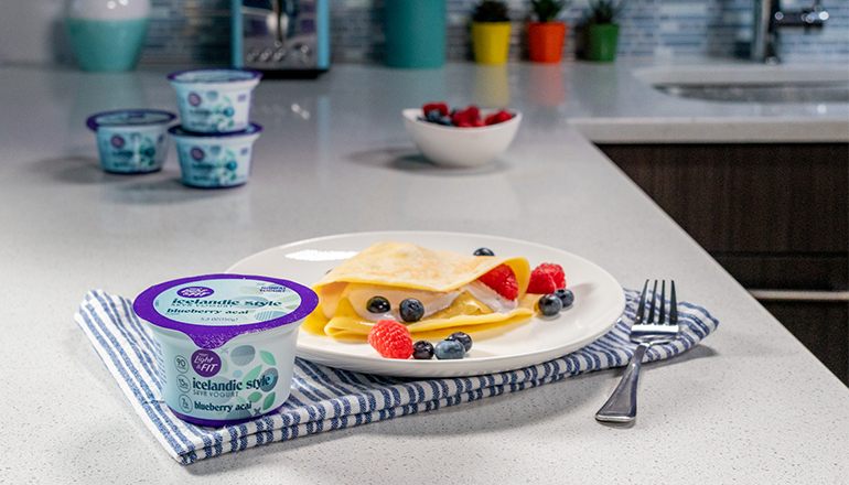 Icelandic Style Pancakes with Light And Fit Blueberry Acai