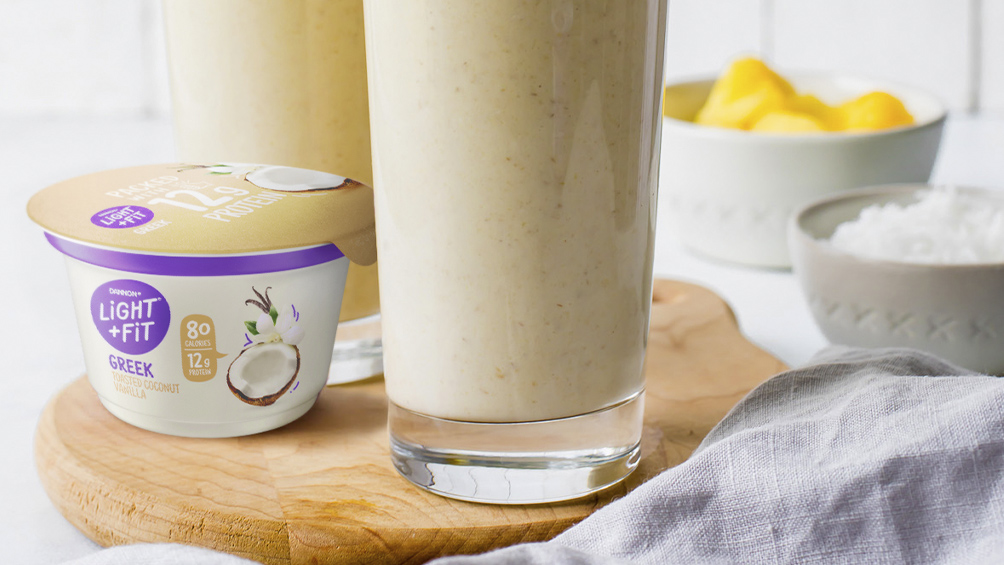 Coconut Vanilla Smoothie with Light And Fit Original Greek Toasted Coconut Vanilla