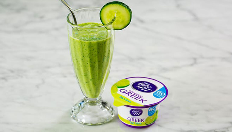 Cucumber Melon Smoothie with Light & Fit Original Greek Key Lime