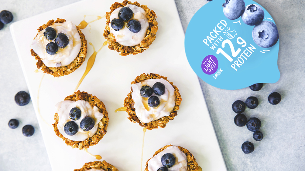 Yogurt Granola Cups with Light And Fit Original Greek Blueberry