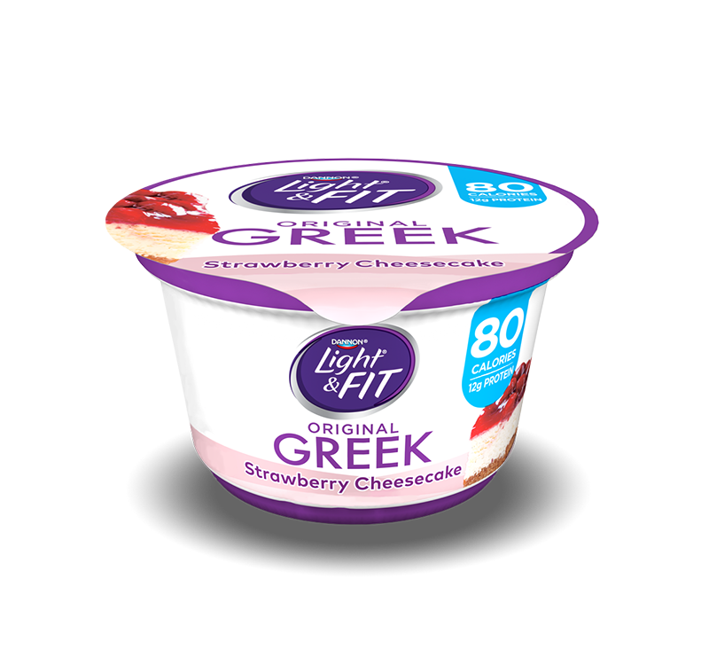 This is a graphic of Dashing Dannon Light and Fit Blueberry Greek Yogurt Nutrition Label